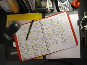 Scheduling, my old school day planner.